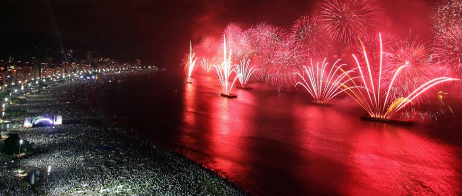 New Years Fireworks over Copacabana beach
