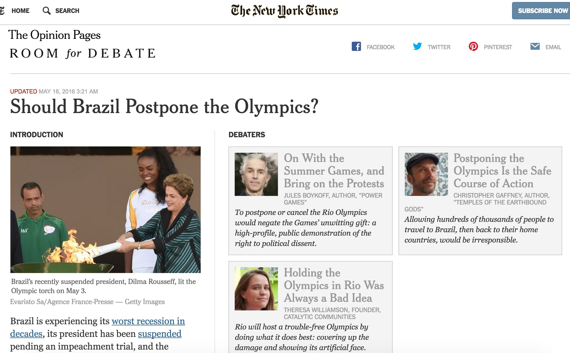 Our Opinion Piece on Whether to Postpone the Olympics in New York ...