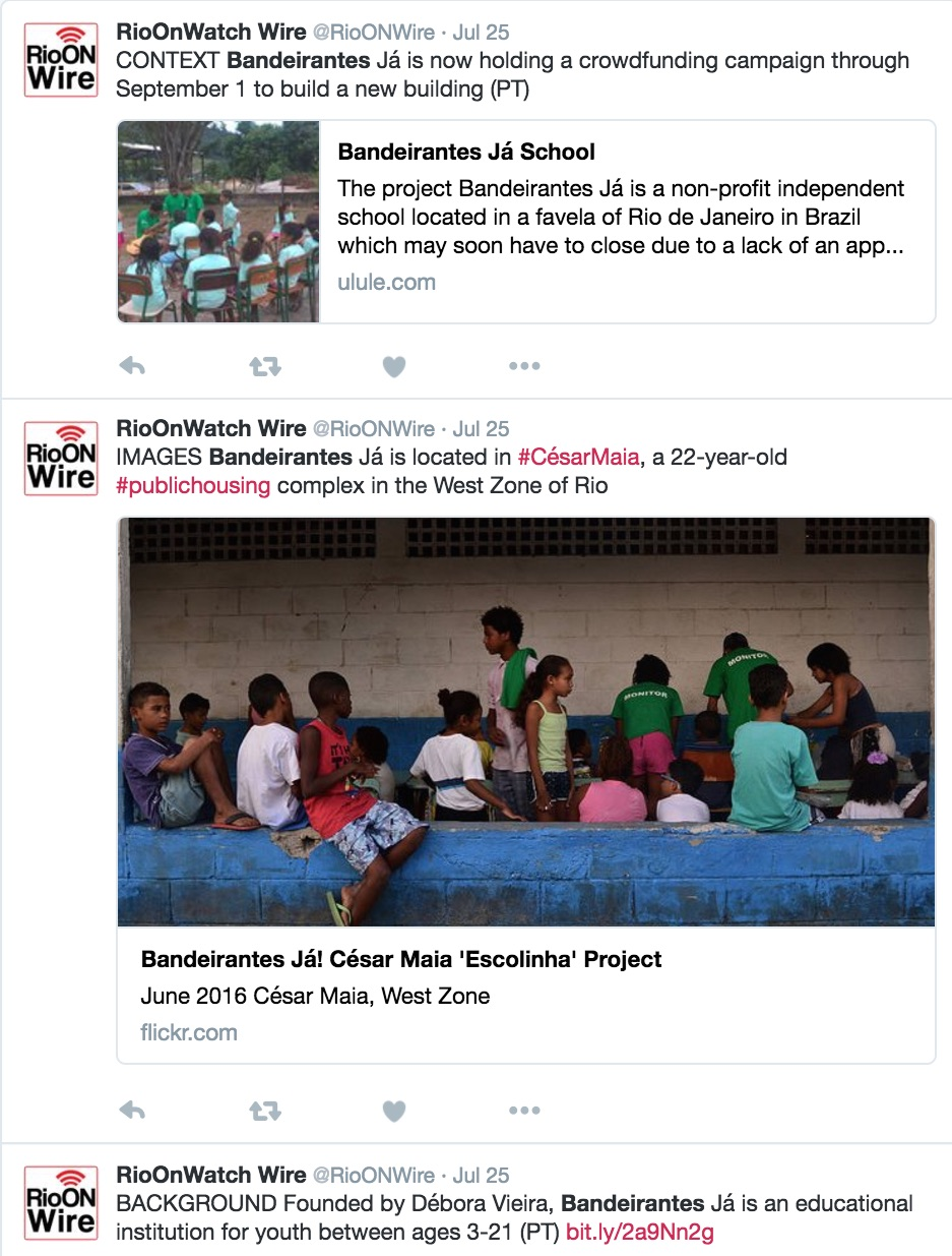 @RioONWire tweet-series promoting coverage and support for community school Bandeirantes Já