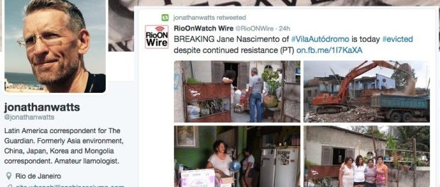 The Guardian's Jonathan Watts retweets from @RioONWire