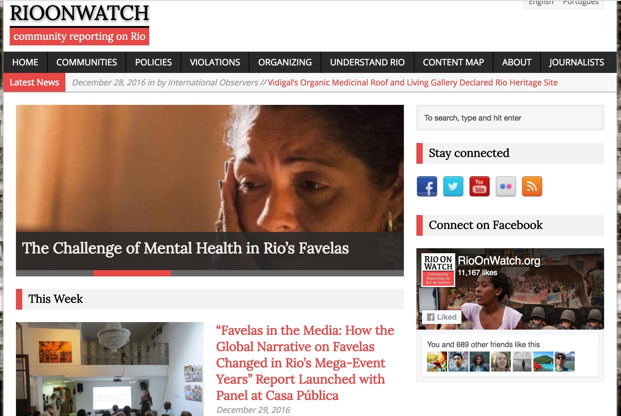 RioOnWatch homepage, December 29, 2016