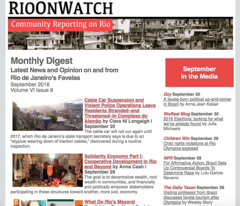 September 2016 Favela News Digest