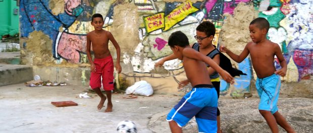 Children playing soccer in Morro da Providência